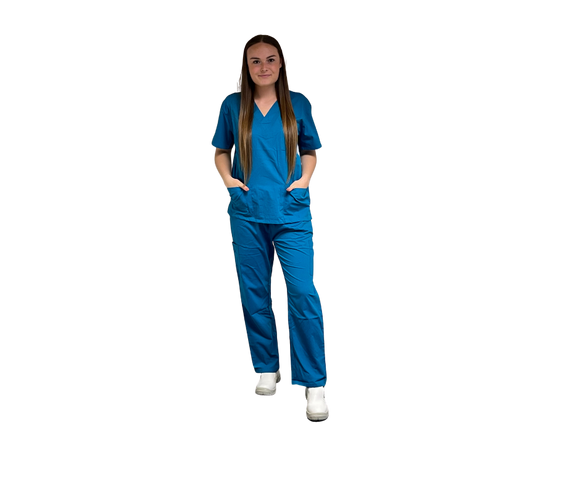 Scrubs UK Premium Unisex Medical Scrubs Suit Set of Tunic and Trousers- Caribbean