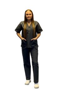 Scrubs UK Premium Unisex Medical Scrubs Suit Set of Tunic and Trousers - Pewter