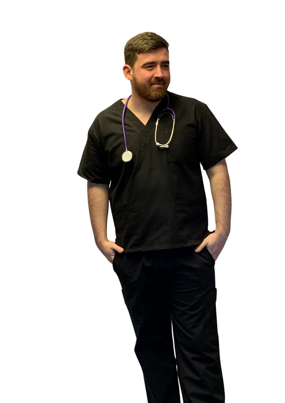 Scrubs UK Premium Unisex Medical Scrubs Suit Set of tunic and trousers - Black