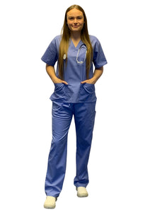 Scrubs UK Premium Unisex Medical Scrubs Suit Set of Tunic and Trousers - Ceil