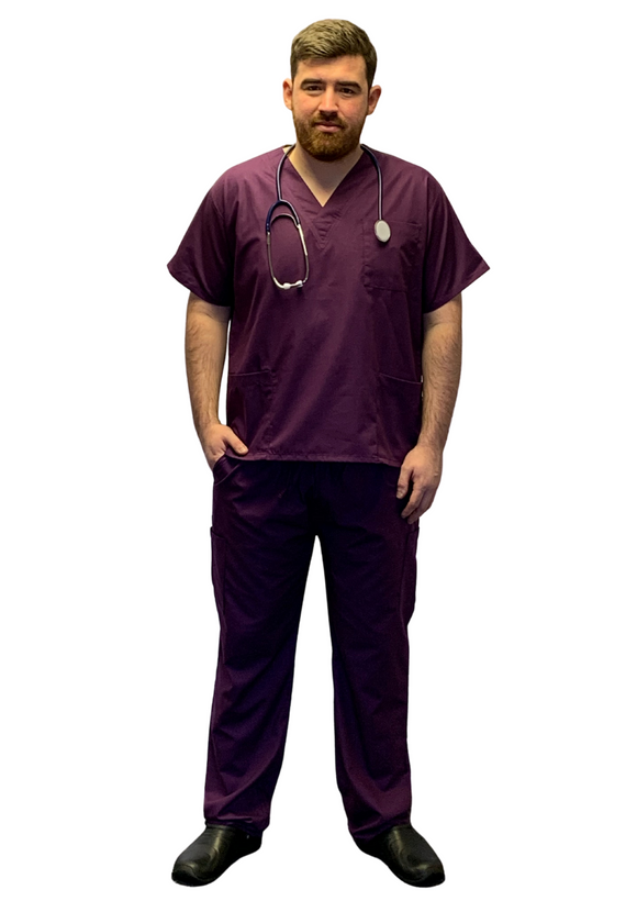 Scrubs UK Premium Unisex Medical Scrubs Suit Set of Tunic and Trousers- Egg plant
