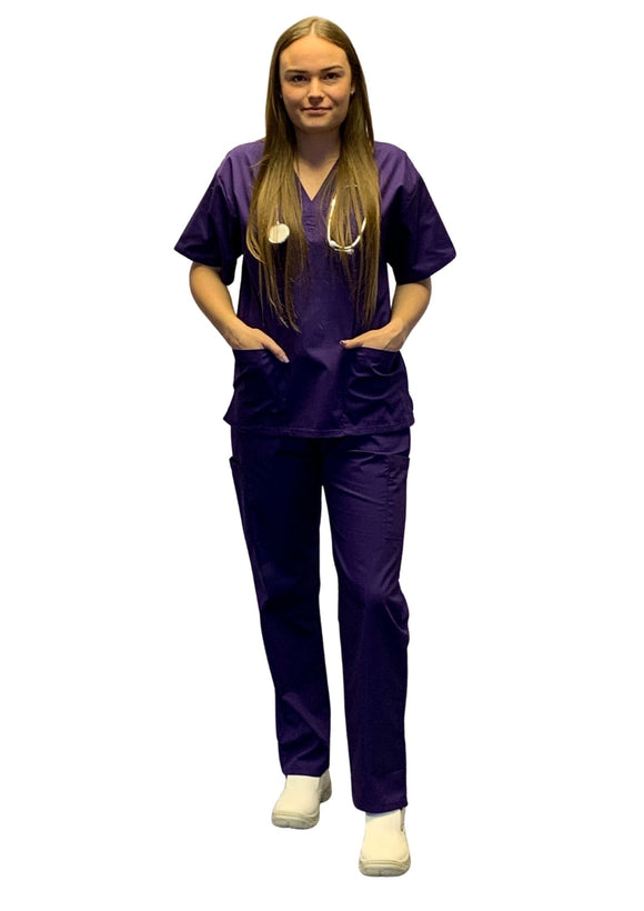 Scrubs UK Premium Unisex Medical Scrubs Suit Set of Tunic and Trousers- Grape