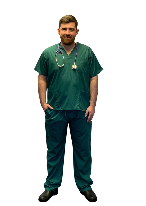 Scrubs UK Premium Unisex Medical Scrubs Suit Set of Tunic and Trousers - Hunter Green