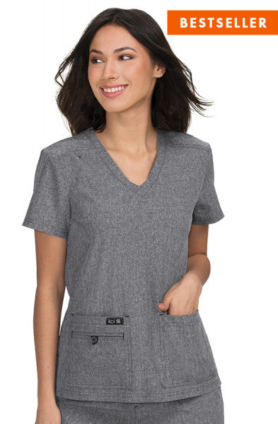 Koi Basics - Women's Scrub Top (Becca) - Heather Grey