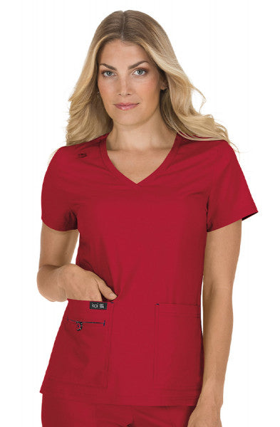 Koi Basics - Women's Scrub Tunic (Becca or Katie) - Ruby