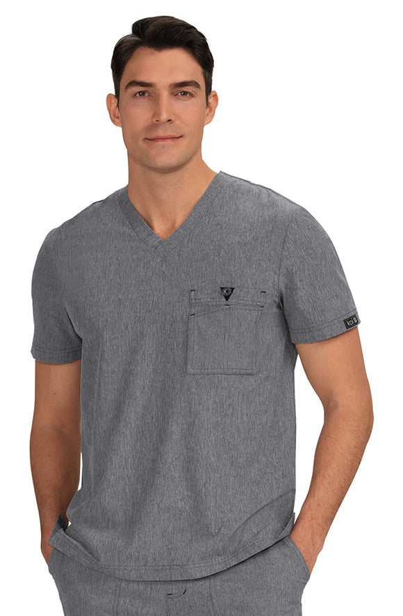 Koi Basics - Men's Scrub Top (Bryan) - Heather Grey