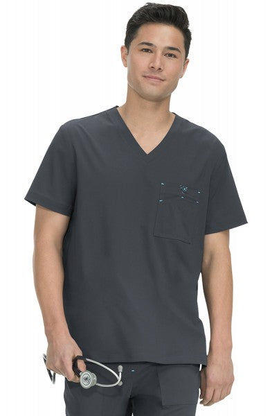 Koi Basics - Men's Scrub Top (Bryan) - Charcoal Grey