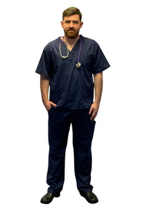 Scrubs UK Premium Unisex Medical Scrubs Suit Set of Tunic and Trousers- Navy