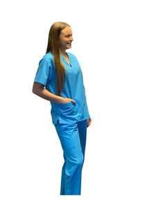 Scrubs UK Premium Unisex Medical Scrubs Suit Set of Tunic and Trousers - Turquoise