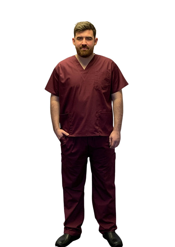 Scrubs UK Premium Unisex Medical Scrubs Suit Set of Tunic and Trouser - Wine