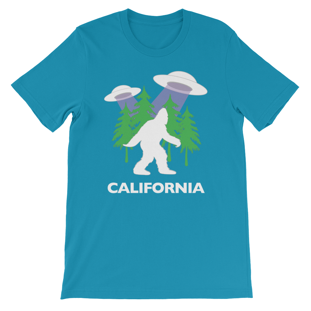 OFC Cryptids Collection | Bigfoot Sasquatch UFO California | Adult T-Shirt Short-Sleeve Unisex