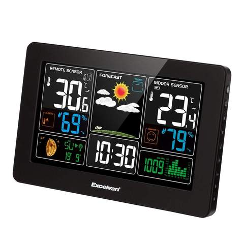 DIGITAL WIRELESS WEATHER STATION WITH LARGE LCD COLOR DISPLAY WITH OUTDOOR SENSOR BLACK
