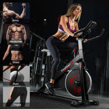 Exercise Bike Indoor Cycling for Home/Gym Use with Heart Rate Monitor, LCD Display, adjustable, Super Mute Spinning bike