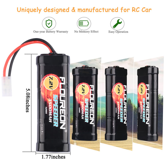 Floureon 7.2V 3500mAh Ni-MH High Capacity Battery Flat Pack with Female-tamiya Plug for RC Cars