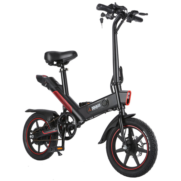 DOHIKER Y1 Folding Electric Bicycle 350W 36V Waterproof Electric Bike with 14'' Wheels 10Ah Rechargeable Battery Three Working Modes LED Headlight - Black