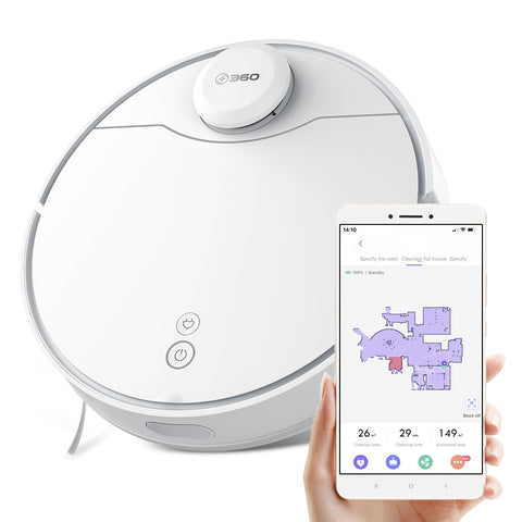 360 S6 Pro LDS Lidar Laser Navigation Wet and Dry 5200mAh Robot Vacuum Cleaner 53dB Low Noise RF Omnidirectional + APP Dual Remote Control 2200Pa Suction