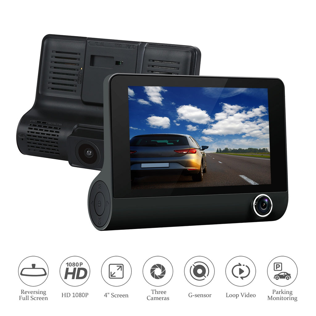 Excelvan 3-Channel Dash Cam with 4'' LCD Screen, G-Sensor, Loop Recording and Parking Mode
