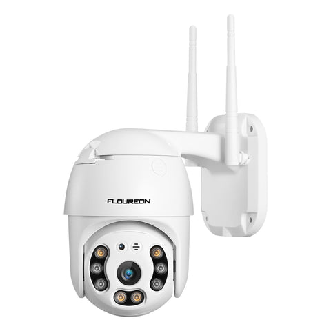 FLOUREON 1080P Pan-Tilt Outdoor Security IP Camera with Sound & Light Alarm, Human Detection
