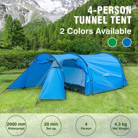 Finether 3-Person Camping Tunnel Tent Outdoor Ultralight Waterproof Double-Walled Tent All Season Shelter with Carry Bag for Camping Hiking Traveling Park Beach