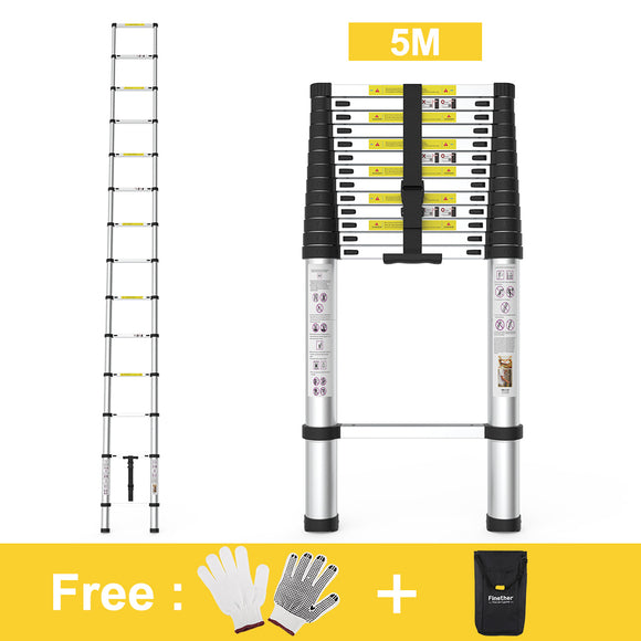 Finether 16.4 ft Aluminum Telescopic/Telescoping Loft Extension Multi-Purpose Ladder, EN 131 Certified with Work Gloves, Ladder Carrying Bag and Anti-Slip Treads for Household Kitchen Garage Commercia