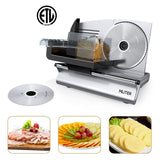MLITER Electric Food Slicer 150W Motor 7.5 Inch Blades Heavy Duty Casting Aluminium Case 2 Blades Available Thickness Adjustable For Bread Cheese Vegetables Fruits Meats