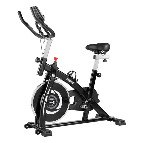 KUOKEL Exercise Bike, Belt Drive Indoor Cycling Bike with 13lbs Flywheel, Adjustable Handlebar and Seat, LCD Monitor, Phone/Tablet Holder for Home Workout