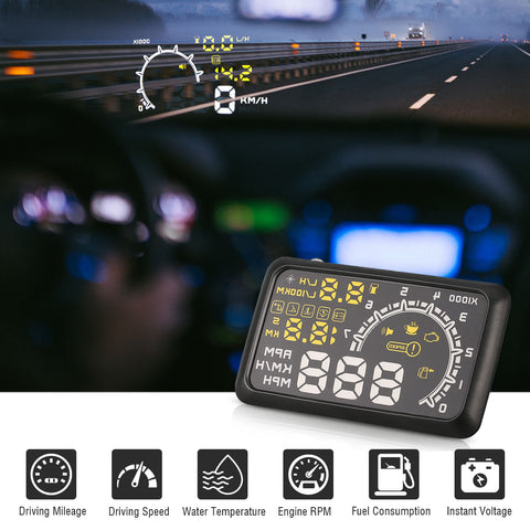 5.5 Inch Auto OBDII OBD2 Port Car Hud Head Up Display KM/h MPH Overspeed Warning Windshield Projector Alarm System