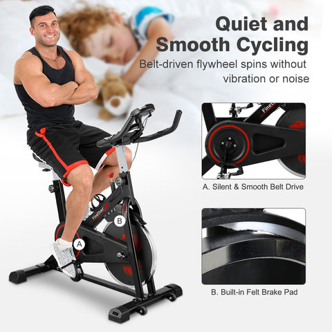 Finether Silent Belt Drive Indoor Exercise Bike with Adjustable Resistance, Heart Rate Sensors and Phone Holder