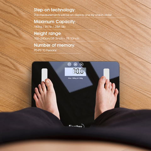 Finether Smart Body Fat Scale with BMI, BIA Technology, 4 Sensors and 6 mm Tempered Glass