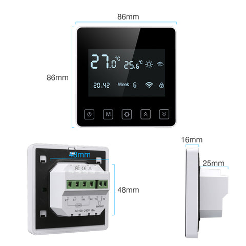 FLOUREON WiFi Thermostat LCD Touchscreen Heating Thermostat Support App Control Centeral Heating Thermostat Programmable 5 +2/6 +1/7 Daily Weekly Underfloor Temperature Controller