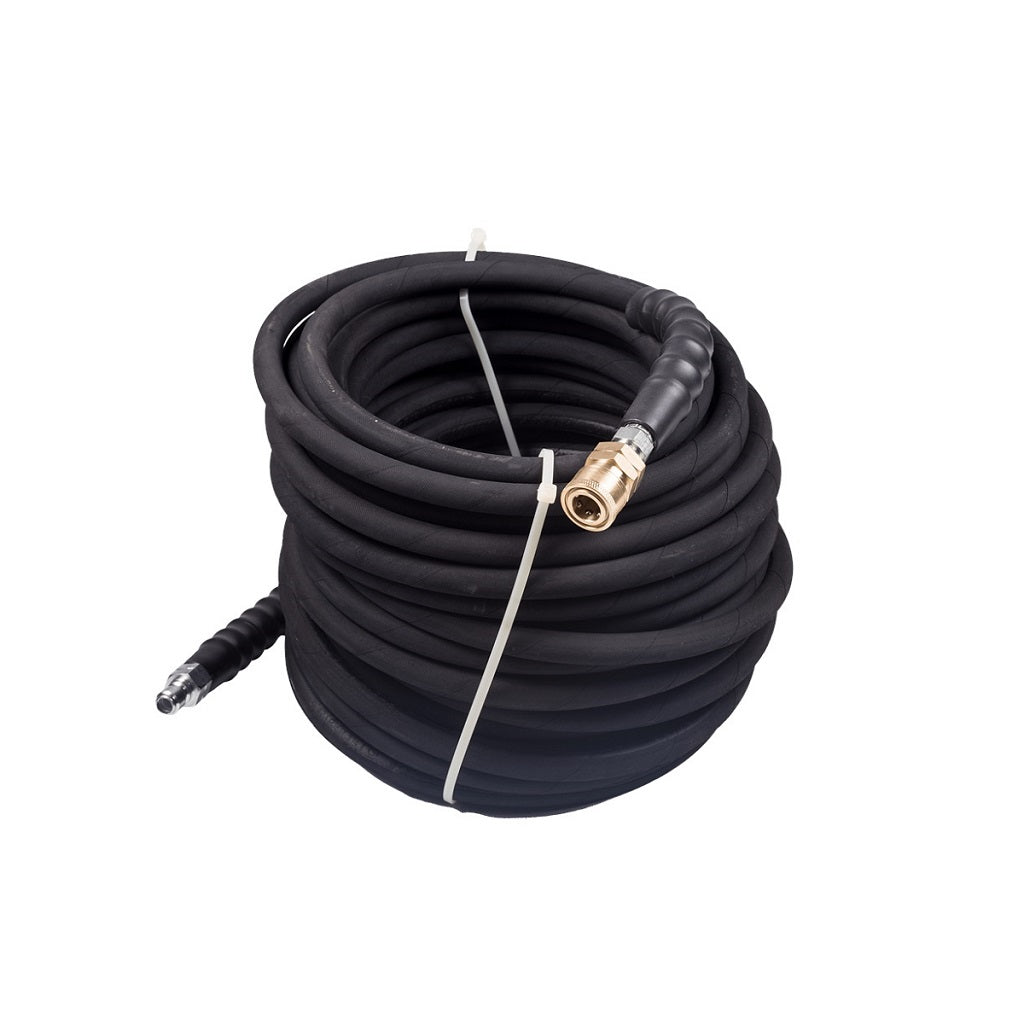 BE 4000psi 3/8 Inch x 100 FT Black Rubber Wrapped Pressure Washer Hose With Quick Connectors