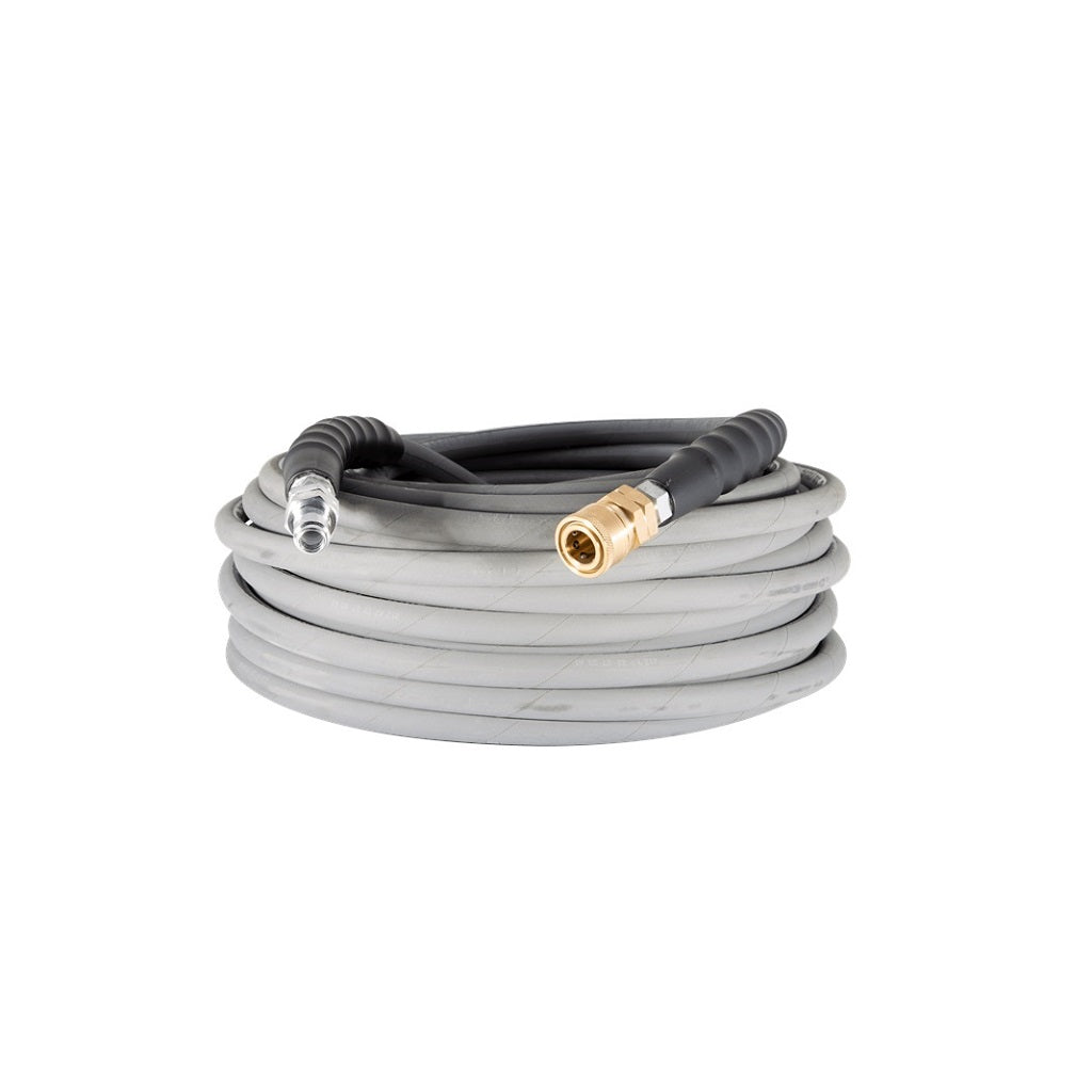 BE 4000psi 3/8 Inch x 100 Feet Grey Non-Mark Rubber Pressure Washer Hose With Quick Connectors