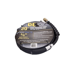 BE 4000psi 3/8 Inch x 30 Feet Black Rubber Wrapped Pressure Washer Hose With Quick Connectors