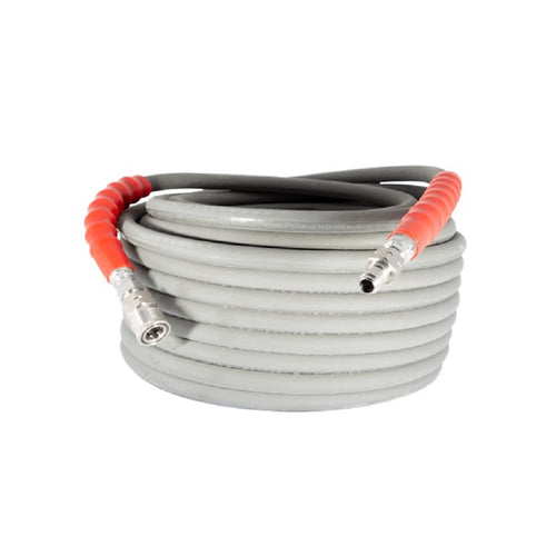 BE 6000psi 3/8 Inch x 100 Feet Grey Non-Mark Rubber Pressure Washer Hose With Stainless Quick Connectors