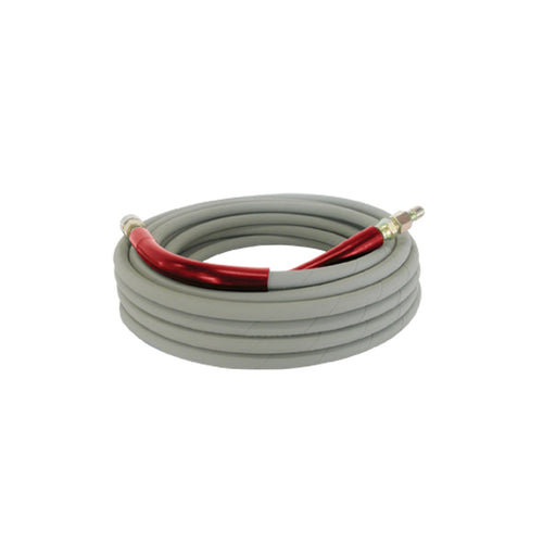 BE 6000psi 3/8 Inch x 50 Feet Grey Non-Mark Rubber Pressure Washer Hose With Stainless Quick Connectors