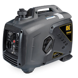 BE B1200I 1200 Watt Quiet Inverter Generator 6 Hour Runtime at 1/2 Load Pull Start