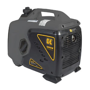 BE BE1200I 1200 Watt Quiet Inverter Generator 6 Hour Runtime at 1/2 Load Pull Start
