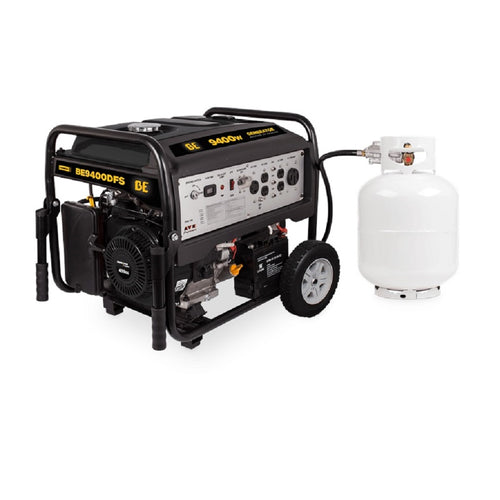 BE BE9400DFS 9400 Watt Dual Fuel Generator Propane or Gas 7 Hour Runtime at Full Load Electric Start