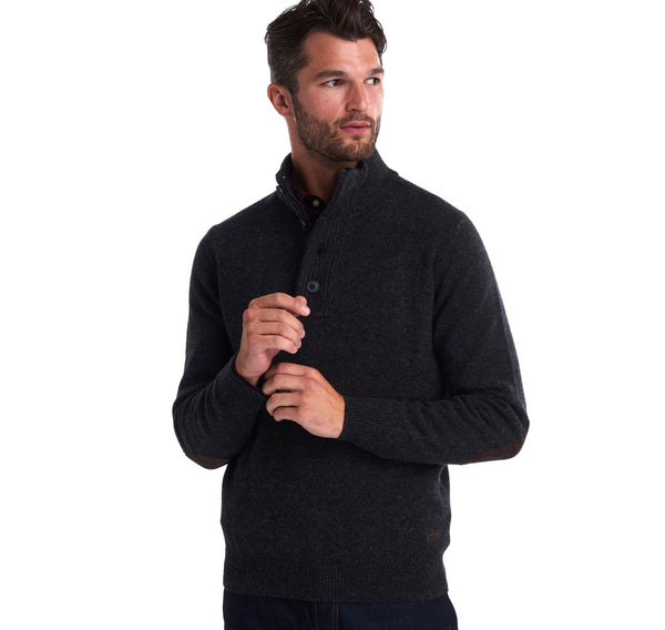 Barbour Sweaters Patch Half Button Sweater- Charcoal