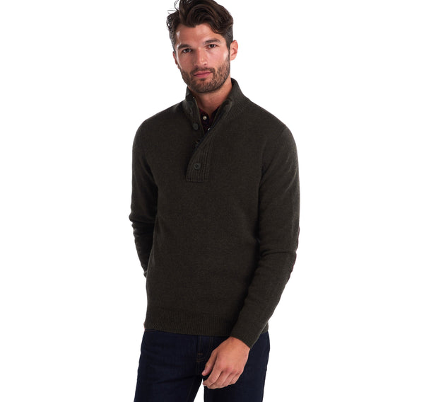 Barbour Sweaters Patch Half Button Sweater- Seaweed