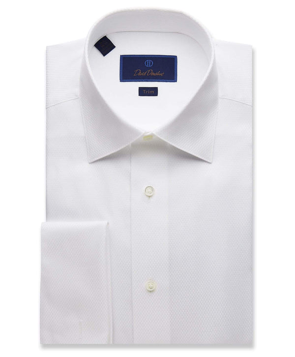 David Donahue Dress Shirts Dobby Weave French Cuff Formal SHirt
