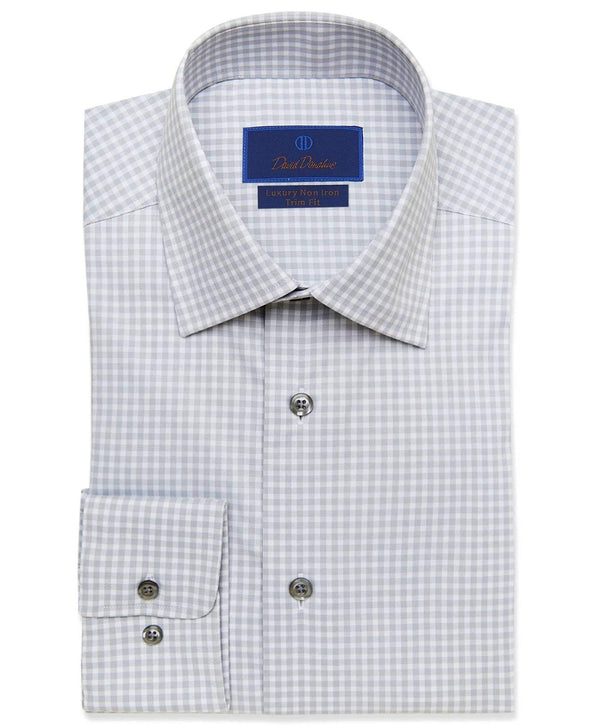 David Donahue Dress Shirts Grey Gingham Performance Dress Shirt