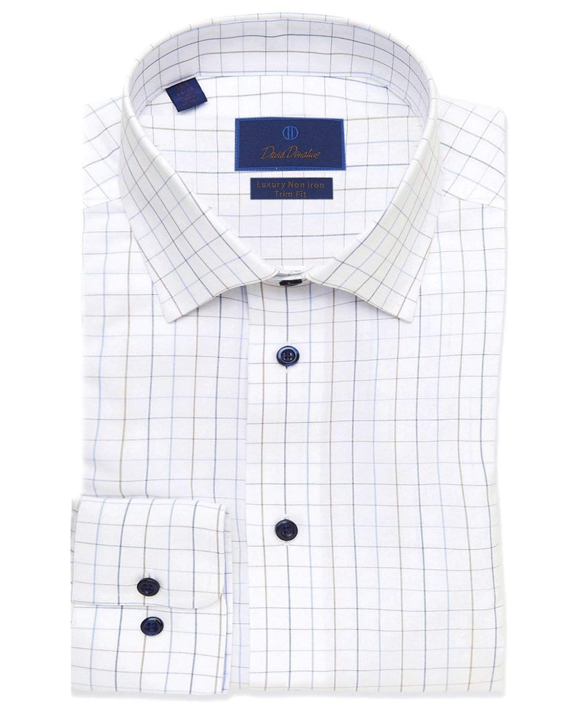David Donahue Dress Shirts Tattersall Non-Iron Dress Shirt