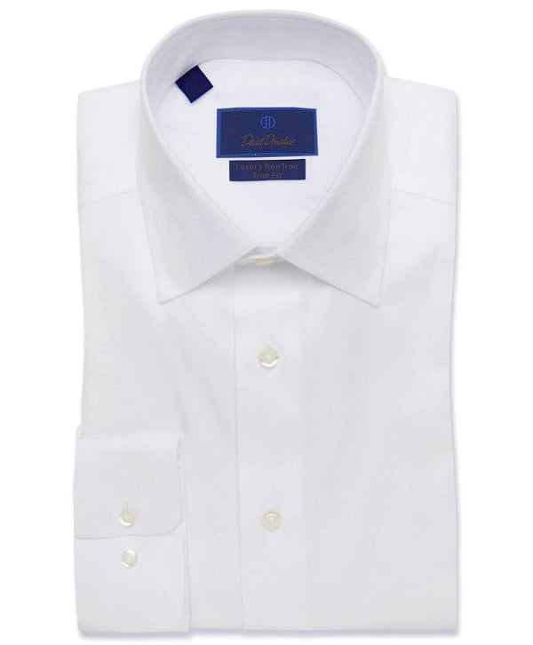 David Donahue Dress Shirts White Non-Iron Dress Shirt- Trim Fit