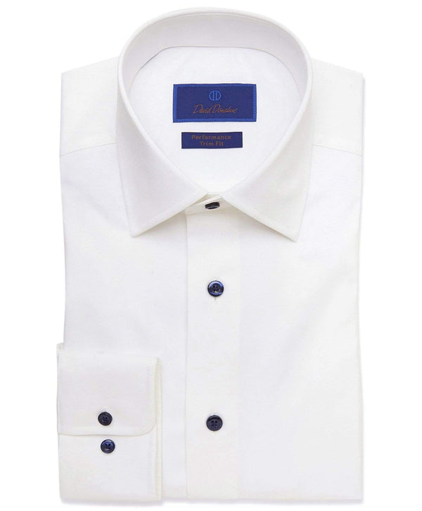 David Donahue Dress Shirts White Performance Dress Shirt