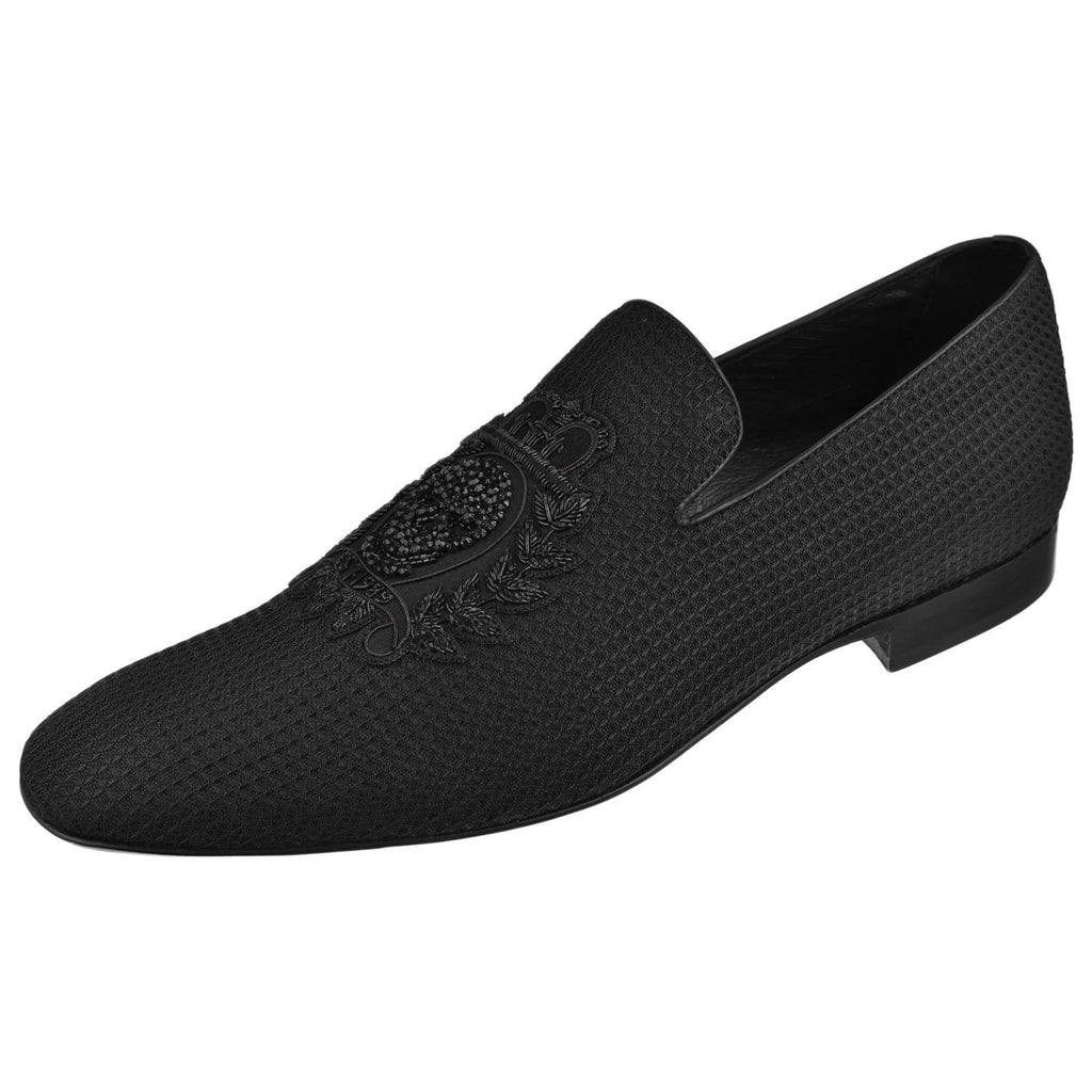 Donald Pliner Shoes Donald Pliner Mens Pazano Beaded Skull Loafer Pazanosp-M3-Black