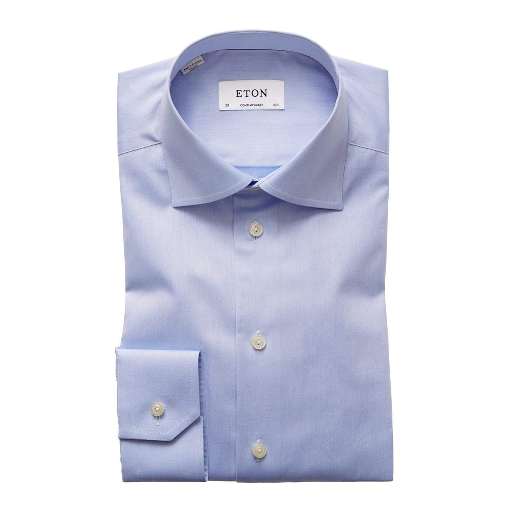 Eton Dress Shirts Contemporary Fit Light Blue Signature Twill