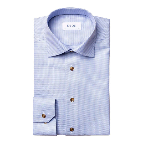 Eton Dress Shirts Contemporary Fit Light Blue Textured Twill / Brown Accent Button