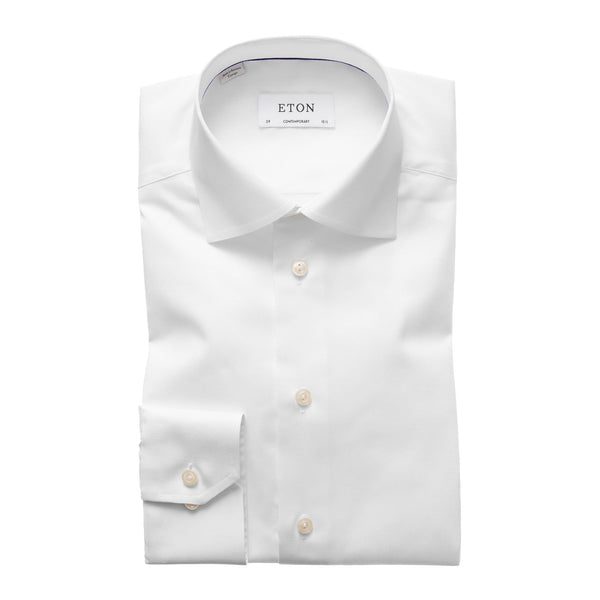 Eton Dress Shirts Contemporary Fit White Signature Twill