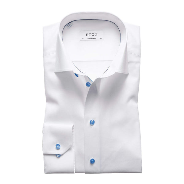Eton Dress Shirts Contemporary Fit White Twill w/Blue Detail